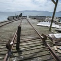 The original rails for loading up the Coast Guard boats at Pier's End.- The Tillamook Bay Heritage Route