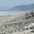 View north of the Bayocean Peninsula from Cape Meares Beach and community.- The Tillamook Bay Heritage Route