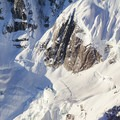 The walls of Ruth Gorge are over 4,000 feet above the ice.- Denali Flightseeing