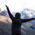 Ally taking in the views from Mu Gompa out over the vast mountainscape.- Nepal Undiscovered, Part 1: Tsum Valley Trek