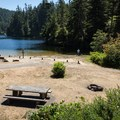The small beach and picnic area at Lake Marie.- 48 Hours on the Central Oregon Coast