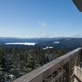 The view of Timothy Lake from Clear Lake Butte Lookout.- Winter Adventures on Mount Hood