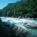The Buri Gandaki River flows downriver through the lush valley.- Nepal Undiscovered, Part 1: Tsum Valley Trek