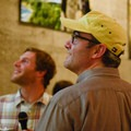 Aron Bosworth and his friend Tyler Gelfand enjoy a showing of the Outdoor Project Community Profile video. - Embrace the Winter Party @ Base Camp Brewing Company