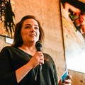 Kate Schaeffer from Friends of Outdoor School speaks to the crowd.- Embrace the Winter Party @ Base Camp Brewing Company
