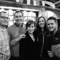 Halvor Tweto and Shane Kucera flank Anzelina Coodey, her husband Nathaniel, and Emily Gillard.- Embrace the Winter Party @ Base Camp Brewing Company