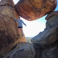 An all-around balancing act at the end of the Balanced Rock Trail in Texas.- Woman In The Wild: Allie Kresen