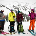 Before skiing off in groups, we had an avalanche safety refresher.- The Whitecap Way