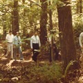 Barbara Walker leading members of Portland Parks and Oregon State Parks on the dedicaton of the Marquam Trail, circa 1968. Photo by Mel Stout.- In Memory of Barbara Walker, a Portland Greenspace Advocate