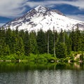 View of Mount Hood (11,250 ft) from the shore of Burnt Lake.- Mount Hood's 15 Best Day Hikes