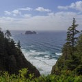View toward Three Arch Rocks to the south from along the trail.- Cape Meares Lighthouse