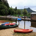 Kayaks and canoes are available for rent at the marina.- Loon Lake Lodge + RV Resort
