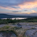 Sunset view over Eagle Lake from a viewpoint along Cadillac Summit Road.- Acadia National Park