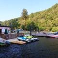 The marina.- Loon Lake Lodge + RV Resort