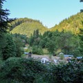 The other end of the Loony's Lakeview Trail, terminating in Loon Lake RV Resort Upper Marina.- Loon Lake: The Oregon Coast's Hidden Summer Destination