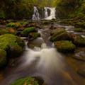 Crystal Falls below Majestic Falls clad in fall colors.- Best Fall Hikes Near Portland