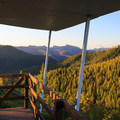 Evening view from the east deck of Gold Butte Lookout.- Glamping