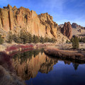 Morning Glory Wall reflected in the Crooked River.- Smith Rock, River Trail Hike