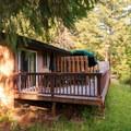 Motel back decks.- Loon Lake Lodge + RV Resort
