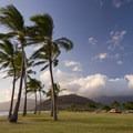 Plenty of inviting grass between the parking area and the beach.- Ma'ili Beach Park