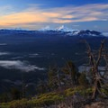 The Three Sisters above the weathered trees of Black Butte.- Black Butte Hike
