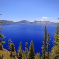 View from the top of the Cleetwood Trail.- Crater Lake National Park
