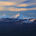 Morning light over the Three Sisters.- Black Butte Hike