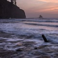 High tide at sunset.- Cape Meares Big Spruce + Beach Trail
