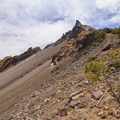 The prominent summit of Mount Thielsen from below the scree field.- Mount Thielsen