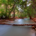 A somewhat risky crossing linking campsites opposite of the main trail.- Havasu Falls Hike via Havasupai Trail