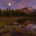 Moonlight over a tarn near Scout Lake.- Jefferson Park via Whitewater Creek Trail