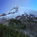 Light fades during blue hour as the moon brightens above Mount Hood as seen from Cloud Cap.- Cooper Spur + Cloud Cap Hike