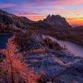 Prusik Peak stands above Perfection and Inspiration Lakes.- Prusik Peak: West Ridge