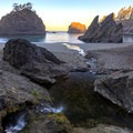Miner Creek pours onto Secret Beach.- Samuel H. Boardman State Scenic Corridor