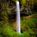 Lush greenery surrounds Shellburg Falls in late spring.- Shellburg Falls Loop Hike