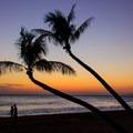 Beach walkers enjoying sunset.- Ka'anapali Beachwalk