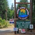 Welcome sign at Loon Lake Lodge.- Loon Lake Lodge + RV Resort