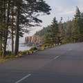 Scenic drive along the rugged coastline nearing Otter Cliff.- Acadia National Park