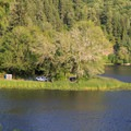 "Recommended group site 48 at Loon Lake Lodge and RV Resort, known as ""The Point,"" complete with private fishing deck.- Loon Lake: The Oregon Coast's Hidden Summer Destination"