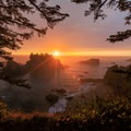 Sunset view from the Thunder Rock Cove viewpoint.- Samuel H. Boardman State Scenic Corridor