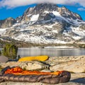 One of many breathtaking campsites at Thousand Island Lake on the JMT.- America's Incredible Thru-Hikes