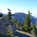 An old fire lookout cabin on Mount Islip's summit (8,250 ft).- Guide to Camping and Hiking in Crystal Lake Recreation Area