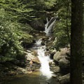 The largest falls at Skinny Dip Falls with a jumping area to the right.- 15 Must-Do Adventures Along The Blue Ridge Parkway