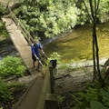 The stairs and bridge to cross the river on the Skinny Dip Falls Trail. - 15 Must-Do Adventures Along The Blue Ridge Parkway