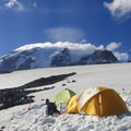 Mount Rainier (14,411 ft) from a base camp just to the west of Moon Rocks.- How and Where to Ski Year Round This Year