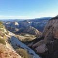 Descending along the West Rim Trail.- West Rim Trail, Lava Point to Zion Canyon