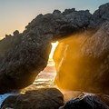 Arch on the beach south of Kirk Creek Campground, Big Sur.- Best Adventure Towns in California