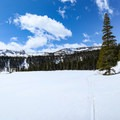 Looking north to higher elevation lakes that flow into Twin Lakes.- California Winter Adventures Beyond the Ski Slopes