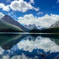 The east end of Marvel Lake. The peaks (from left to right): Marvel Peak, Mount Gloria, Aye Mountain, Lunette Peak, Mount Assiniboine, and Wonder Peak.- The Best of Banff, Canada