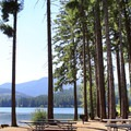 A picnic area on the lakeshore in Lake Easton State Park.- Winter Retreat at Snoqualmie Pass